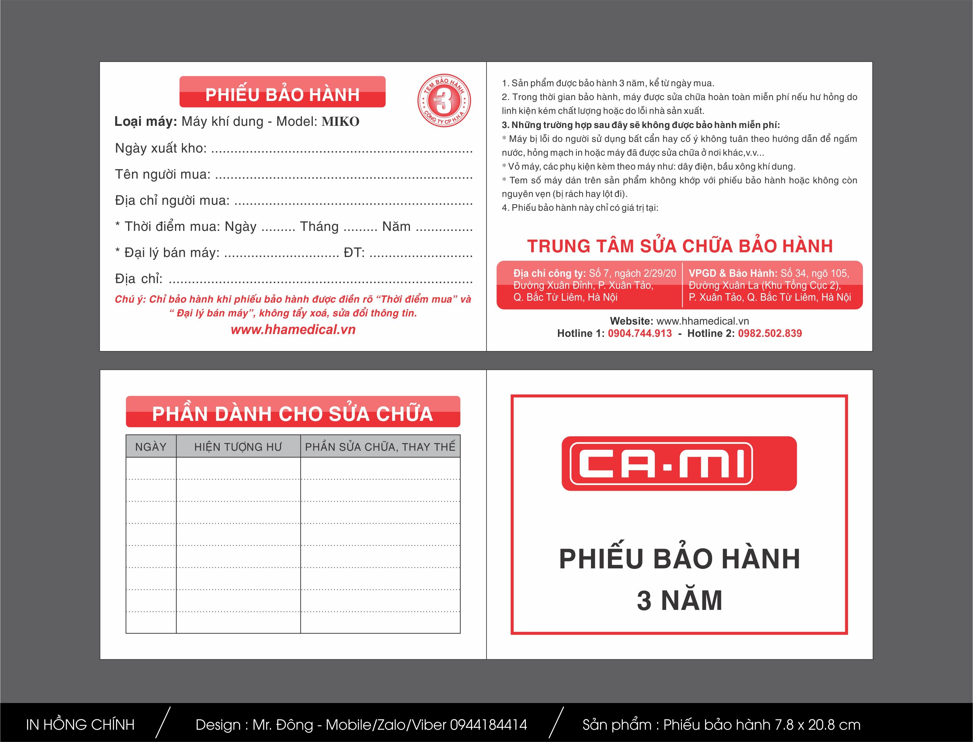 Phieu Bao Hanh HHA - CAMI - 04-07-2016